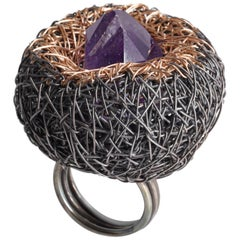 Rose Gold and Black Silver Amethyst Cocktail Ring by Sheila Westera in Stock