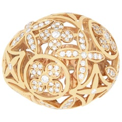 Rose Gold and Diamond Floral Dome Ring