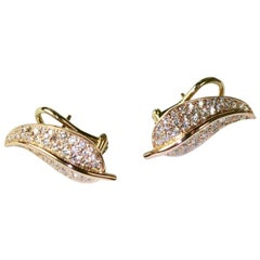 18 Carat Rose Gold and Diamond Leaf Earrings