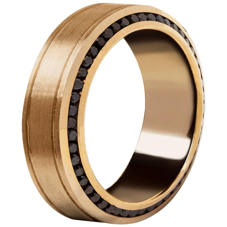 Rose Gold and Diamond Men's Wedding Band For Sale
