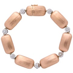 Rose Gold and Diamond Nugget Bracelet