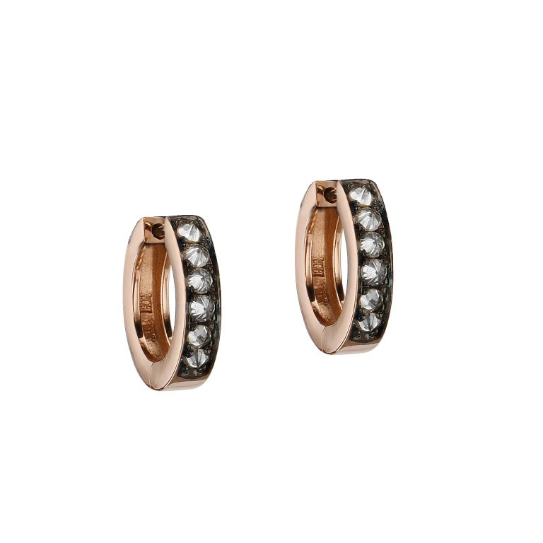 Spike it up with these 18 karat rose gold hoop earrings displaying 12 pieces of point up diamonds(0.33 carats in total weight, L/M-SI2) finished with black rhodium.