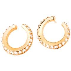 AnaKatarina Rose Gold and Diamond Twist Hoop Earrings