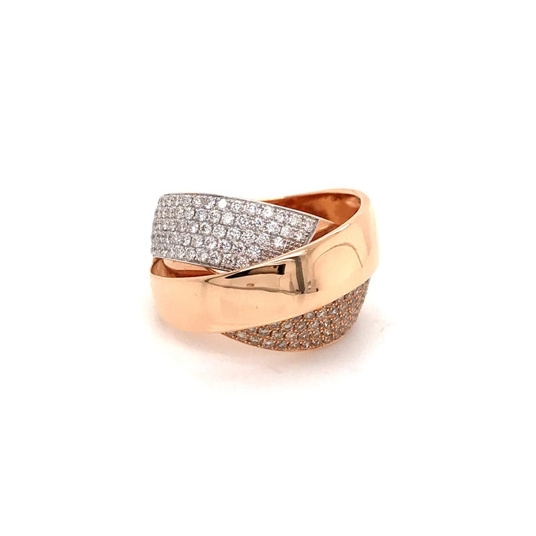Rose Gold and Diamonds Interlaced Fashion Ring For Sale 4