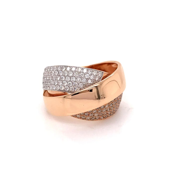 Rose Gold and Diamonds Interlaced Fashion Ring For Sale 5
