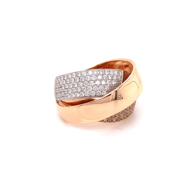 Rose Gold and Diamonds Interlaced Fashion Ring For Sale 6