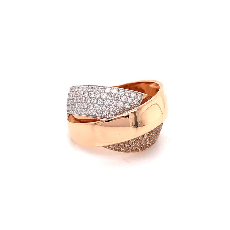 Rose Gold and Diamonds Interlaced Fashion Ring For Sale 7