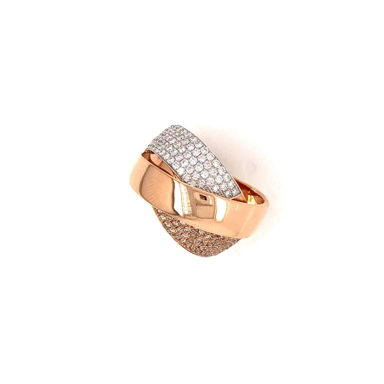 Rose Gold and Diamonds Interlaced Fashion Ring For Sale 9