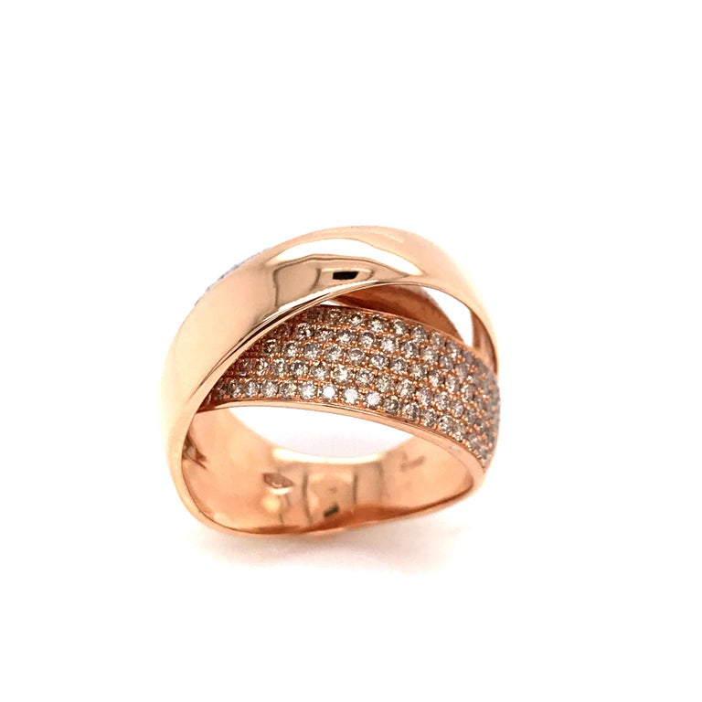 Discover this Rose Gold and Diamonds Interlaced Fashion Ring. Brilliants Diamonds 1.18 Carat Rose Gold 18 Carat French Size 54  US Size 6 1/2