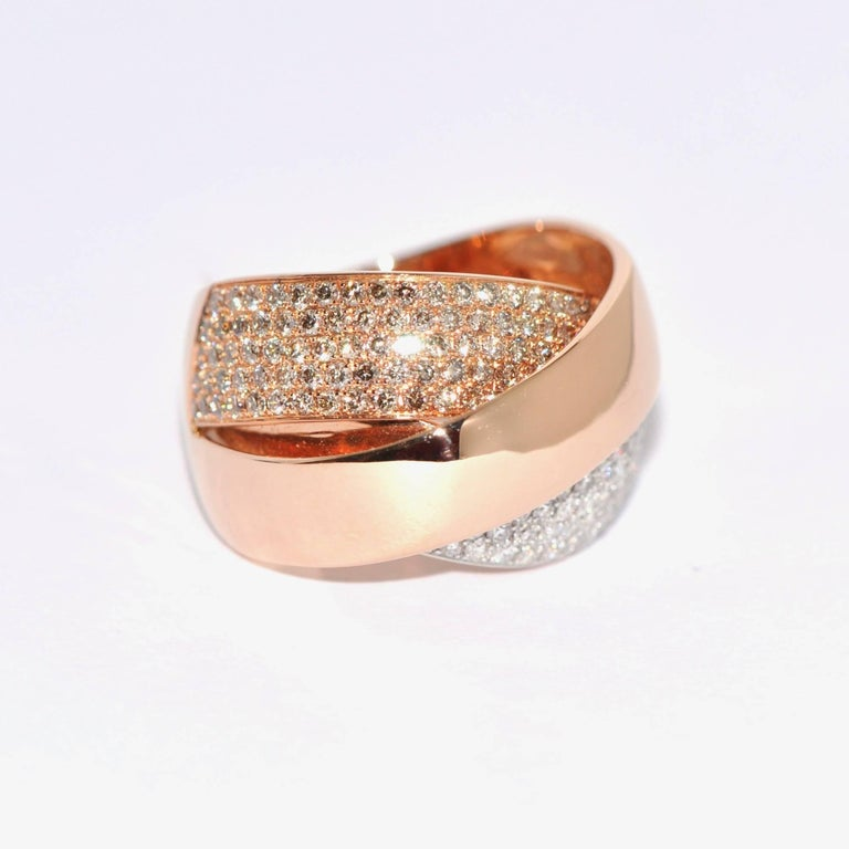 Women's Rose Gold and Diamonds Interlaced Fashion Ring