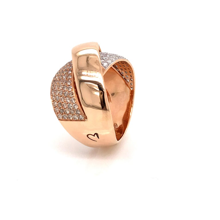 Women's Rose Gold and Diamonds Interlaced Fashion Ring For Sale