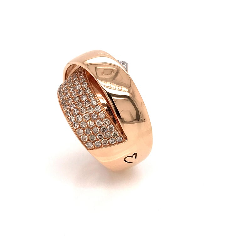 Rose Gold and Diamonds Interlaced Fashion Ring For Sale 1
