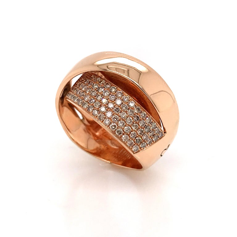 Rose Gold and Diamonds Interlaced Fashion Ring For Sale 2