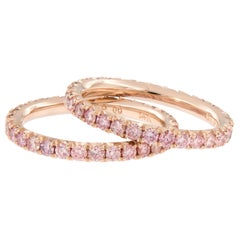 Rose Gold and Laboratory Grown Fancy Pink Diamond Eternity Band