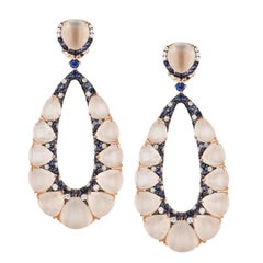 Rose Gold and Moonstone Oval Shaped Earrings