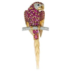 Rose Gold and Platinum Parrot Brooch, Rubies, Diamonds and Onyx
