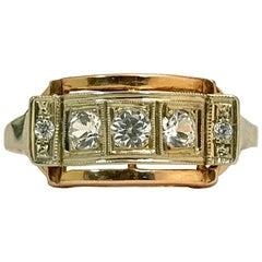 Rose Gold and Quartz Stones Old Ring