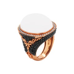 Rose Gold and White Black Diamond Ring with White Agate Center