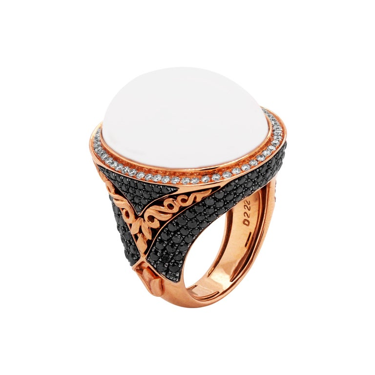 Rose Gold and White Black Diamond Ring with White Agate Center For Sale