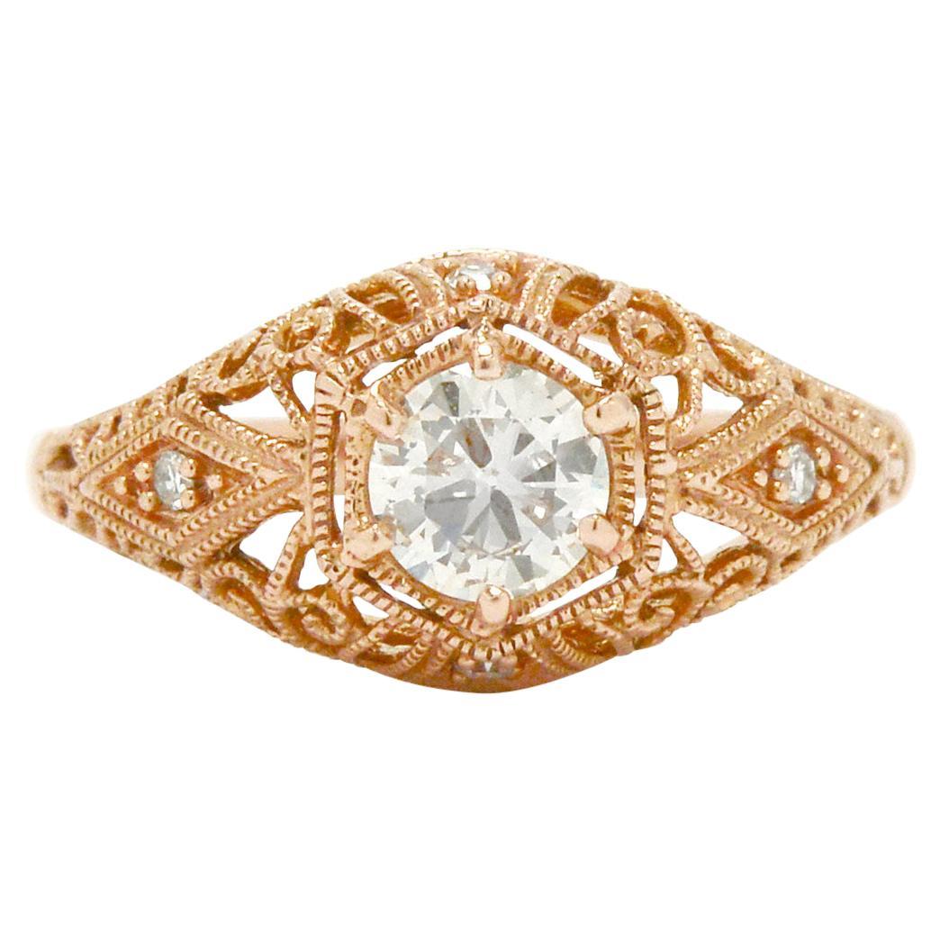 Rose Gold Antique Diamond Solitaire Engagement Ring Half Carat Old European Cut