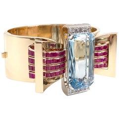 Rose Gold Aquamarine, Ruby and Diamond Wide Retro Bangle Bracelet