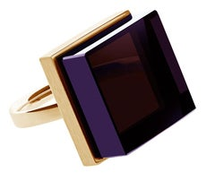 Rose Gold Art Deco Style Men Ring with Dark Amethyst, Featured in Vogue