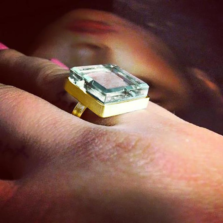 Rose Gold Art Deco Style Men's Ring with Natural Green Amethyst For Sale 5
