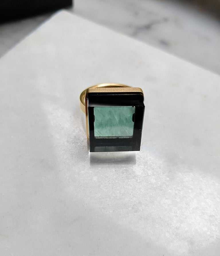 Rose Gold Art Deco Style Men's Ring with Natural Green Amethyst For Sale 7