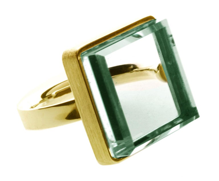 Rose Gold Art Deco Style Men's Ring with Natural Green Amethyst For Sale 8