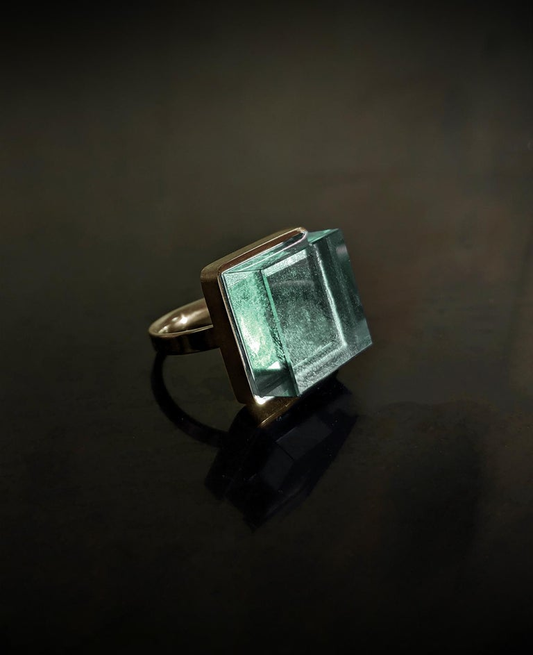 Mixed Cut Rose Gold Art Deco Style Men's Ring with Natural Green Amethyst For Sale