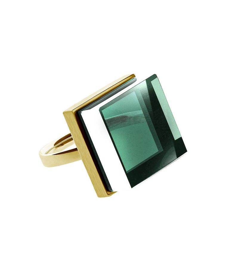 Rose Gold Art Deco Style Men's Ring with Natural Green Amethyst For Sale 4