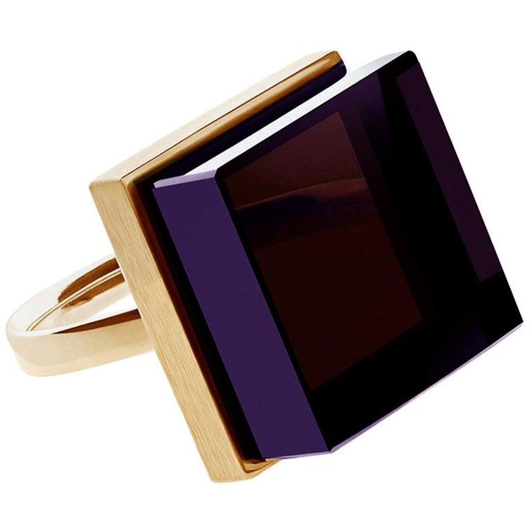 Rose Gold Art Deco Style Men's Ring with Amethyst, Featured in Vogue For Sale