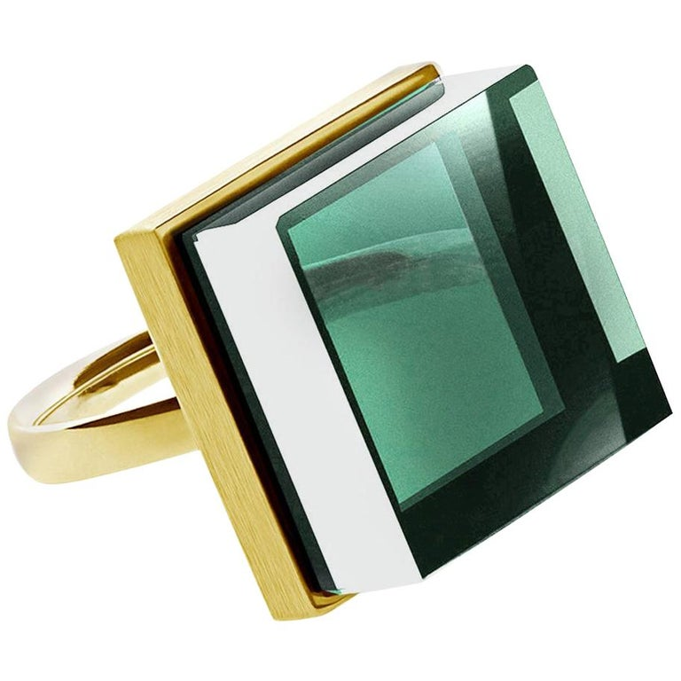 Rose Gold Art Deco Style Men's Ring with Natural Green Amethyst For Sale
