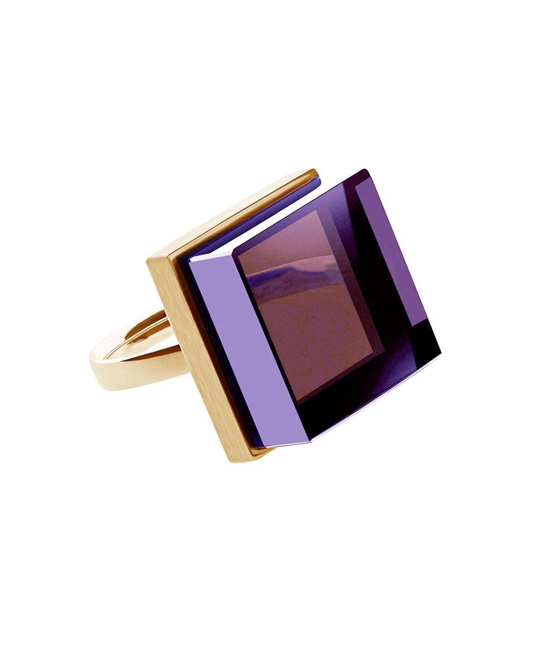 Rose Gold Art Deco Style Men's Ring with Amethyst, Featured in Vogue For Sale 11