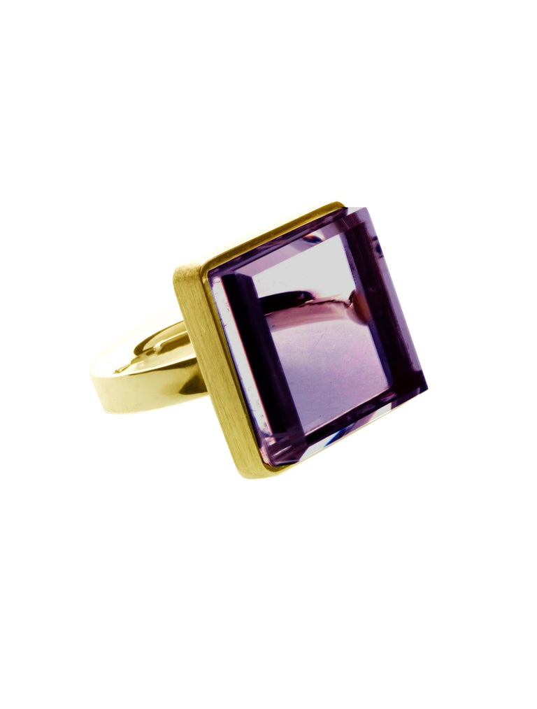 Rose Gold Art Deco Style Men's Ring with Amethyst, Featured in Vogue For Sale 12