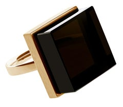 Rose Gold Art Deco Style Men's Ring with Morion, Featured in Vogue