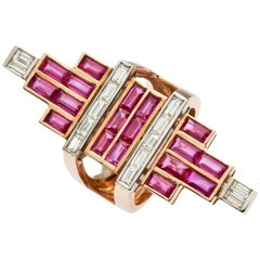 Rose Gold Baguette Diamond, Baguette Ruby Art Deco Ring