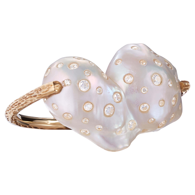 Nina Runsdorf Rose Gold Baroque Pearl and Diamond Ring