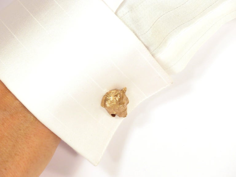 Contemporary Rose Gold Bear Cufflinks Handcrafted in Italy by Botta Gioielli For Sale