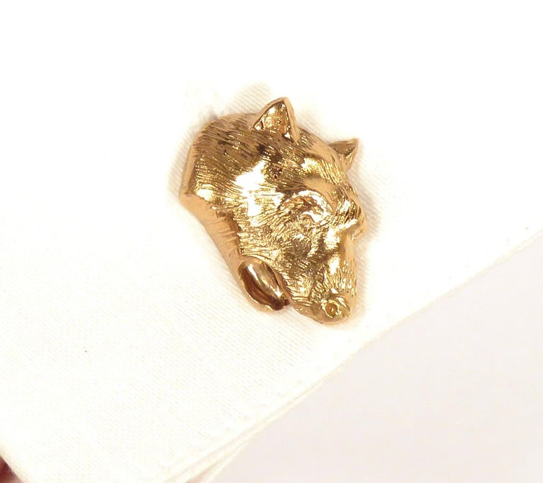 Rose Gold Bear Cufflinks Handcrafted in Italy by Botta Gioielli In New Condition For Sale In Milano, IT