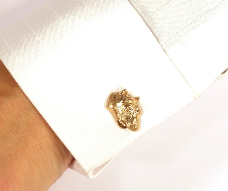 Men's Rose Gold Bear Cufflinks Handcrafted in Italy by Botta Gioielli For Sale