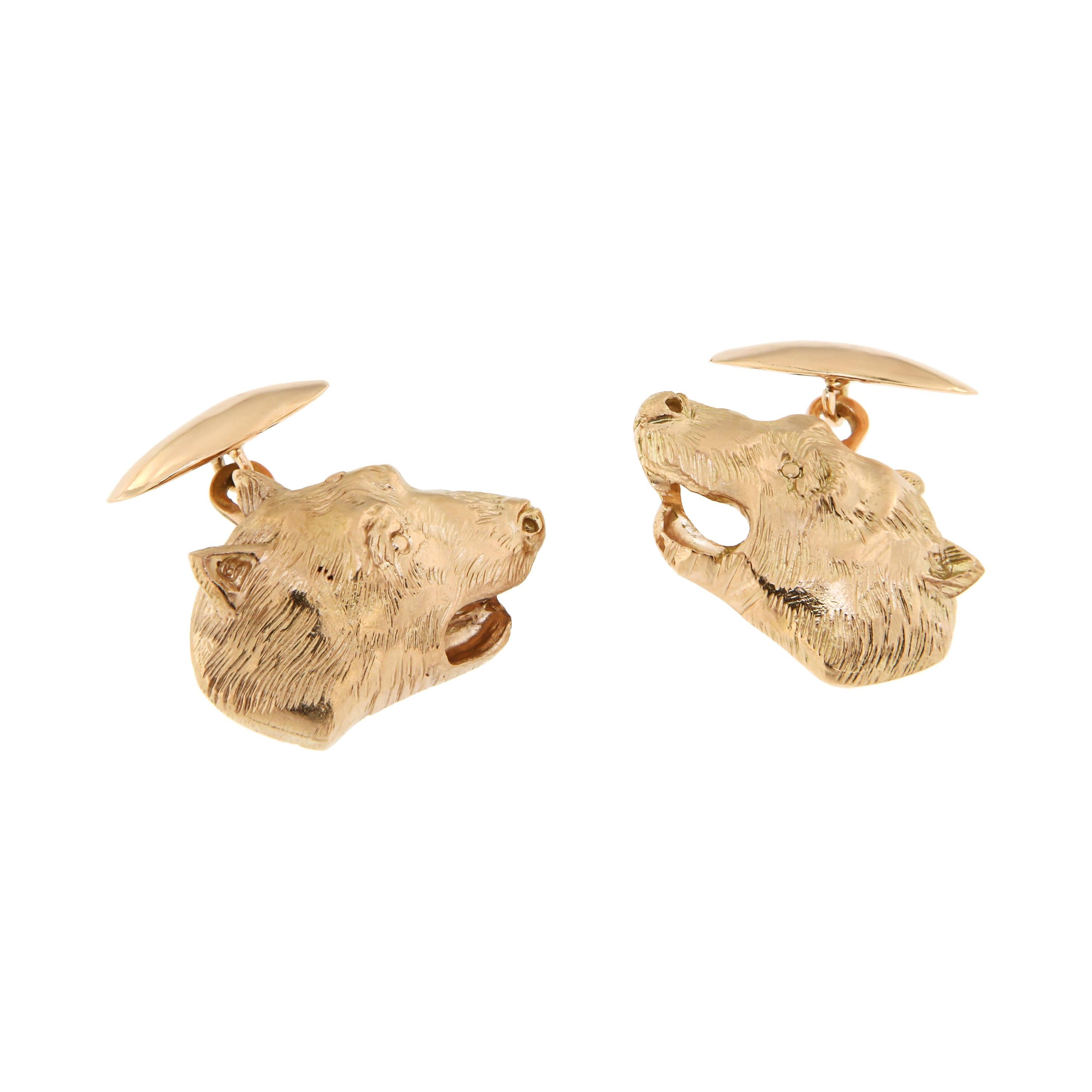 Rose Gold Bear Cufflinks Handcrafted in Italy by Botta Gioielli