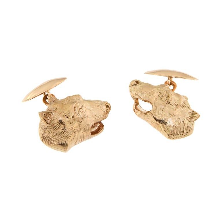 Rose Gold Bear Cufflinks Handcrafted in Italy by Botta Gioielli For Sale