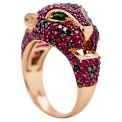 Rose Gold Black Diamond, Ruby and Emerald Panther Ring