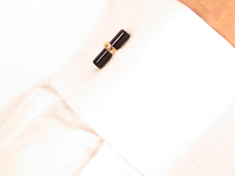 Modern Rose Gold Black Onyx Cufflinks Handcrafted in Italy by Botta Gioielli For Sale