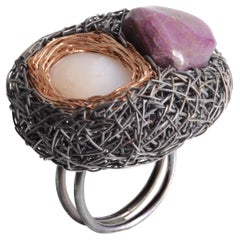 Rose Gold Black Silver Ruby Peruvian Opal Cocktail Ring Sheila Westera in Stock