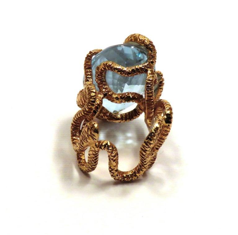 Rose Gold Blue Topaz Cocktail Statement Ring Modern For Sale 3