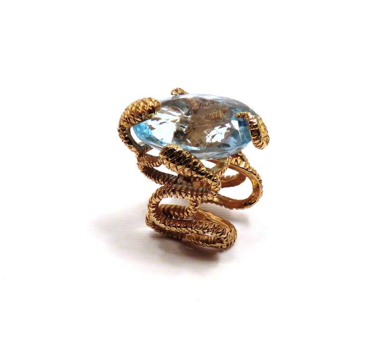 Rose Gold Blue Topaz Cocktail Statement Ring Modern For Sale 4