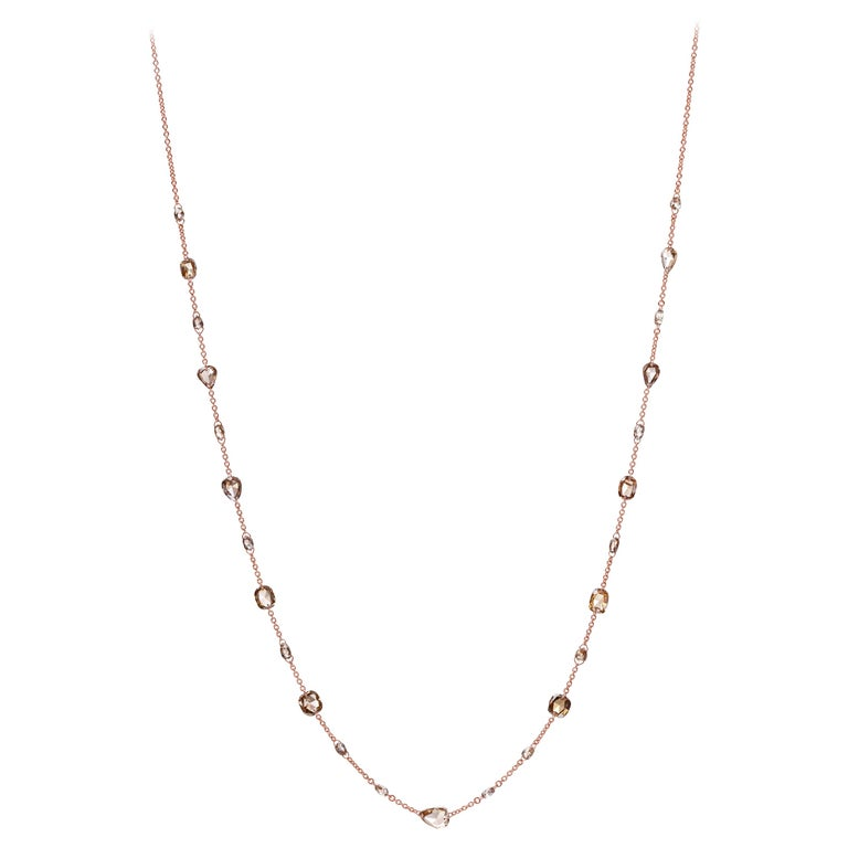 Nina Runsdorf Rose Gold Brown Diamond Rosecut Necklace For Sale