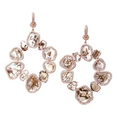 Nina Runsdorf Rose Gold Brown Diamond Slice Earrings